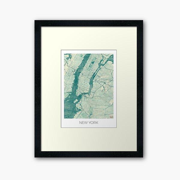 New York Map Blue Vintage Framed Art Print
