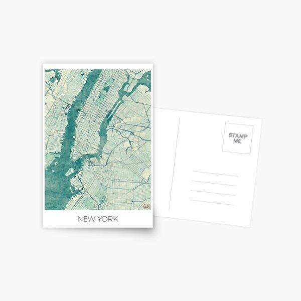 New York Map Blue Vintage Postcard