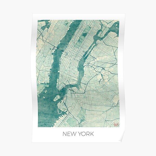 New York Map Blue Vintage Poster