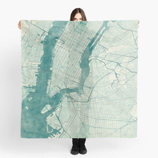 New York Map Blue Vintage Scarf