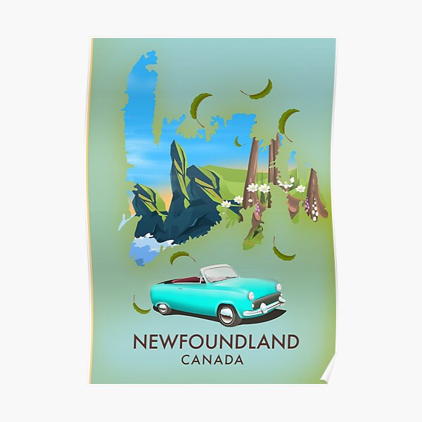 newfoundland Canada map travel poster. Poster