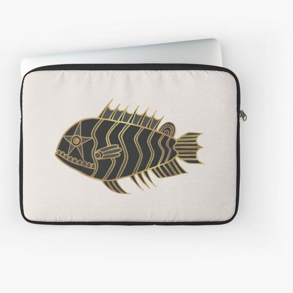Fantastical Fish 1 - Black and Gold Laptop Sleeve