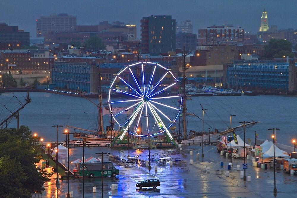 Rainy Night in Camden NJ by pmarella