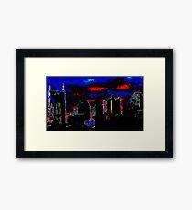 Neon Nashville Cityscape Framed Print