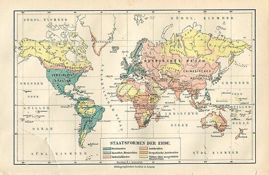 Vintage map - World map, ~1900 ⛔ HQ-quality\