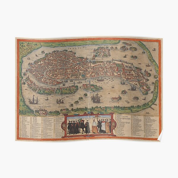 Vintage Map of Venice Italy (1572) Poster