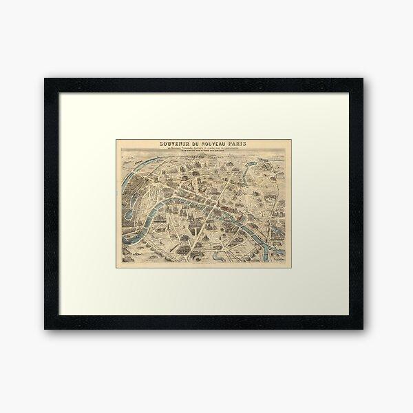 Vintage Pictorial Map of Paris France (1871) Framed Art Print