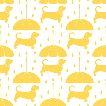 Seamless pattern with rain, dog under an umbrella by aquamarine-p