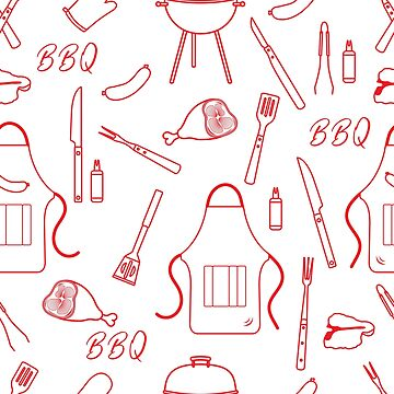 Seamless pattern with grill, barbecue tools. BBQ by aquamarine-p