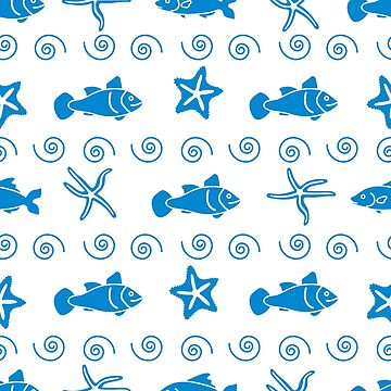 Vector seamless pattern with starfish and fish. by aquamarine-p
