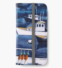 Lobster Boat in Blue Harbor iPhone Wallet/Case/Skin