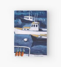 Lobster Boat in Blue Harbor Hardcover Journal