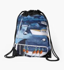 Lobster Boat in Blue Harbor Drawstring Bag