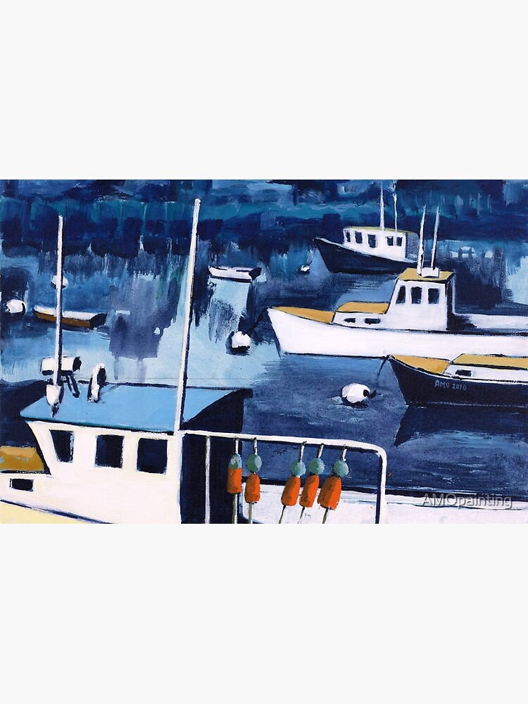 Lobster Boat in Blue Harbor by AMOpainting
