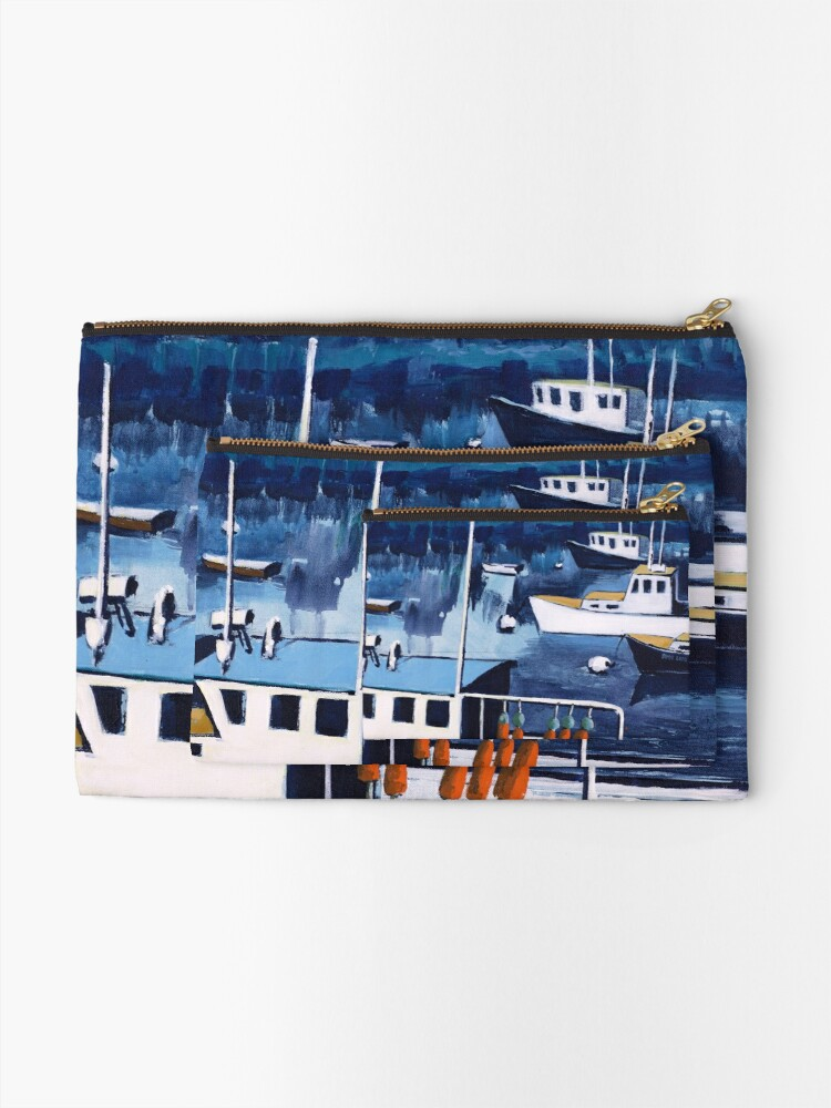 Alternate view of Lobster Boat in Blue Harbor Zipper Pouch