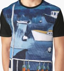Lobster Boat in Blue Harbor Graphic T-Shirt