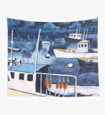 Lobster Boat in Blue Harbor Wall Tapestry