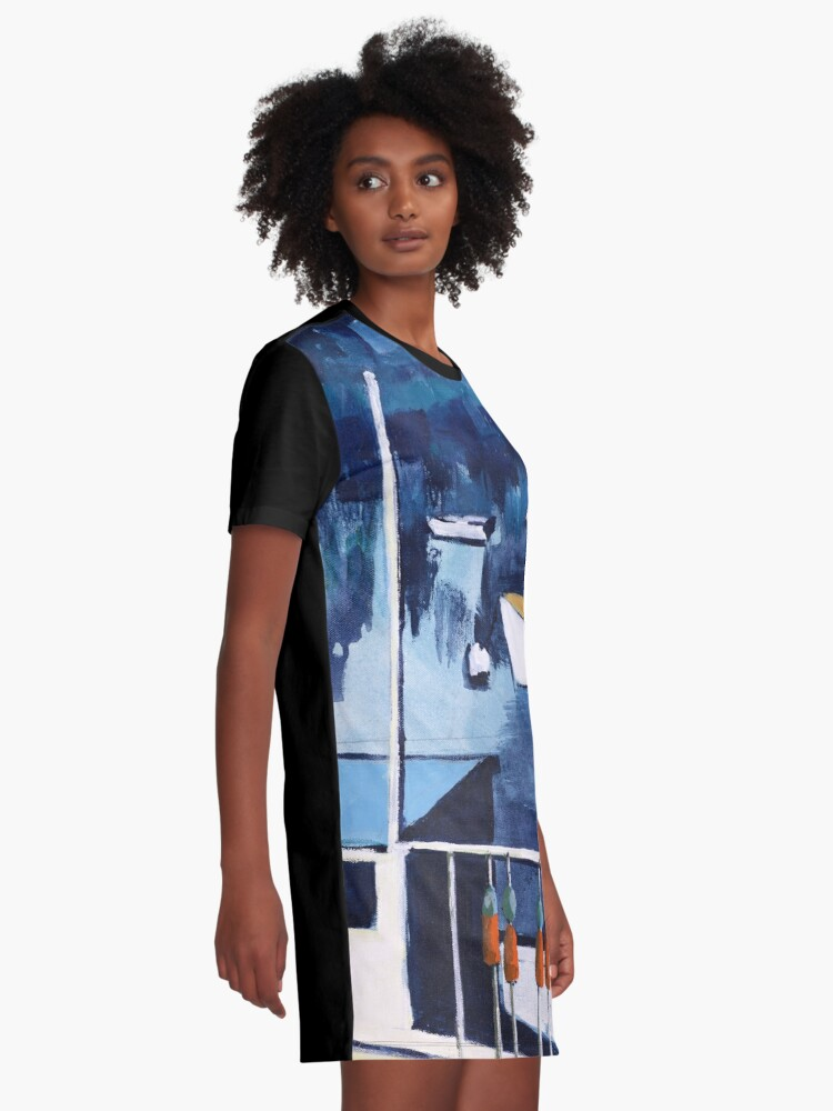 Alternate view of Lobster Boat in Blue Harbor Graphic T-Shirt Dress