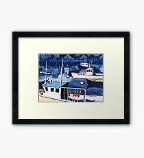Lobster Boat in Blue Harbor Framed Print