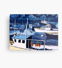 Lobster Boat in Blue Harbor Metal Print