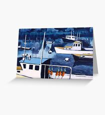 Lobster Boat in Blue Harbor Greeting Card