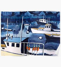 Lobster Boat in Blue Harbor Poster