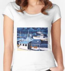 Lobster Boat in Blue Harbor Women's Fitted Scoop T-Shirt