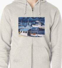 Lobster Boat in Blue Harbor Zipped Hoodie