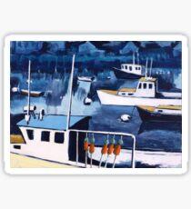 Lobster Boat in Blue Harbor Sticker