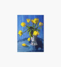 Yellow Tulips with Blue Art Board