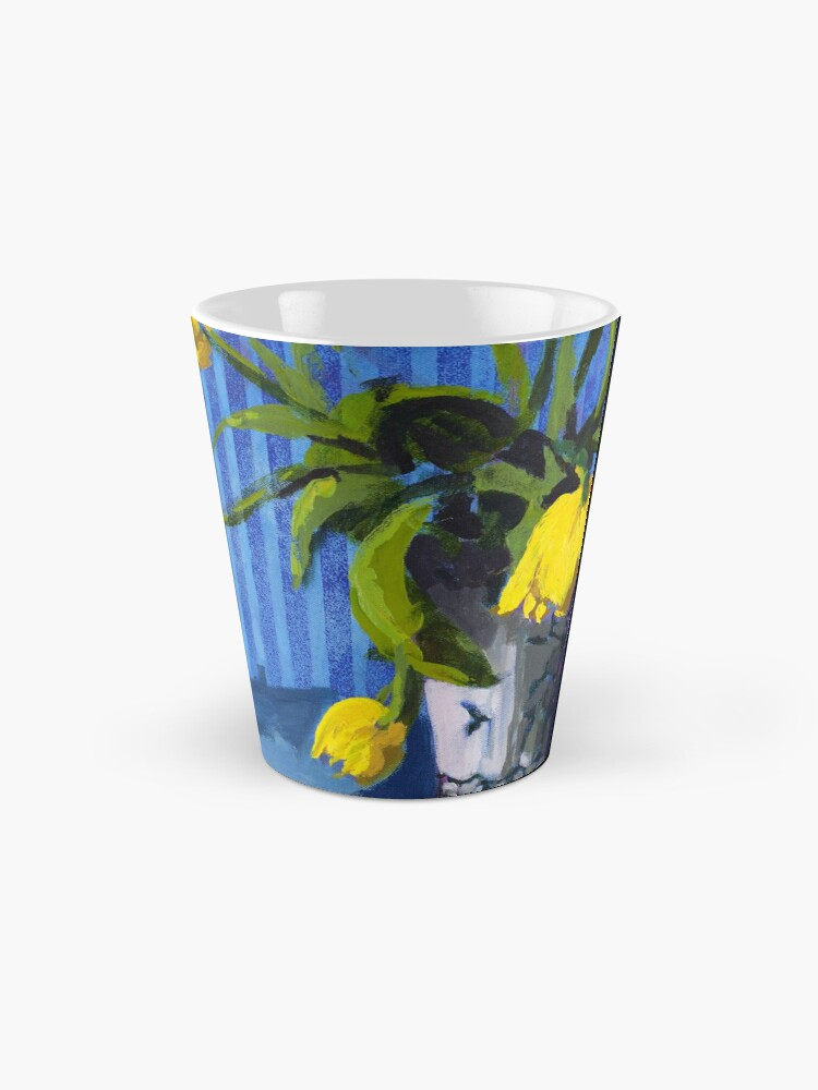 Alternate view of Yellow Tulips with Blue Tall Mug