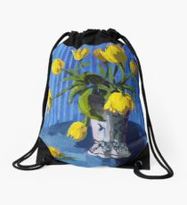 Yellow Tulips with Blue Drawstring Bag