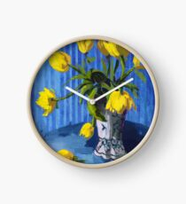 Yellow Tulips with Blue Clock