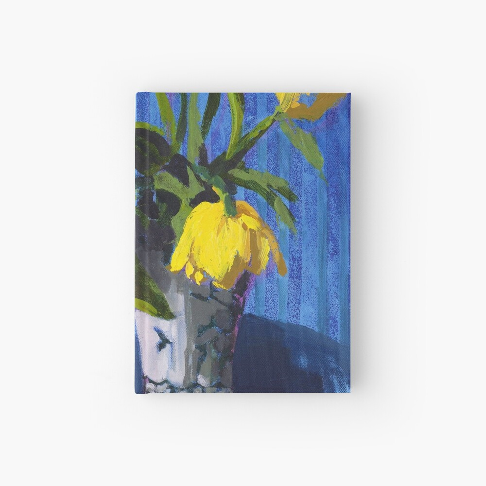 Yellow Tulips with Blue Hardcover Journal
