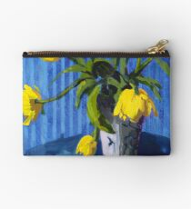 Yellow Tulips with Blue Zipper Pouch