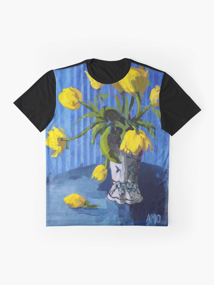 Alternate view of Yellow Tulips with Blue Graphic T-Shirt
