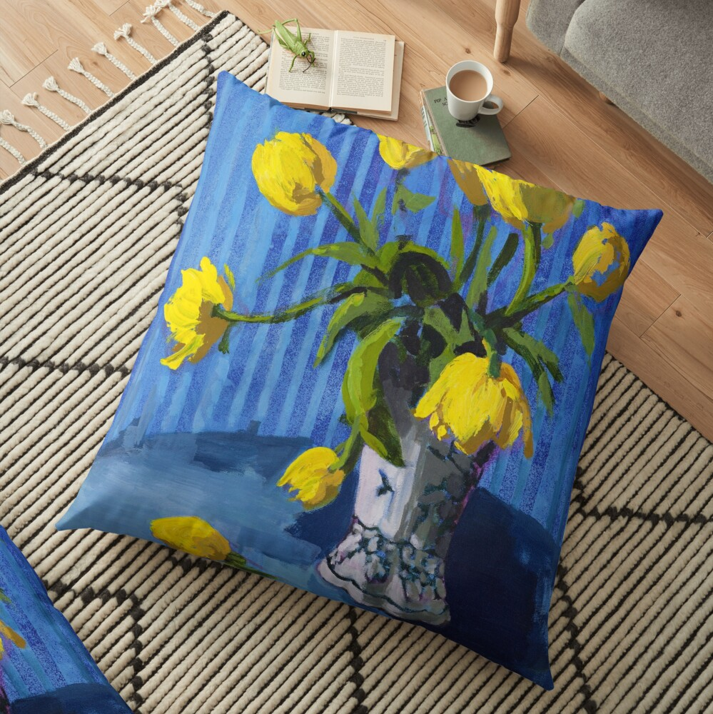 Yellow Tulips with Blue Floor Pillow