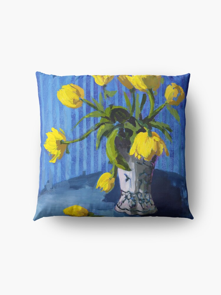Alternate view of Yellow Tulips with Blue Floor Pillow