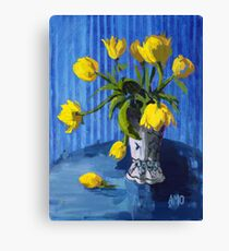 Yellow Tulips with Blue Canvas Print