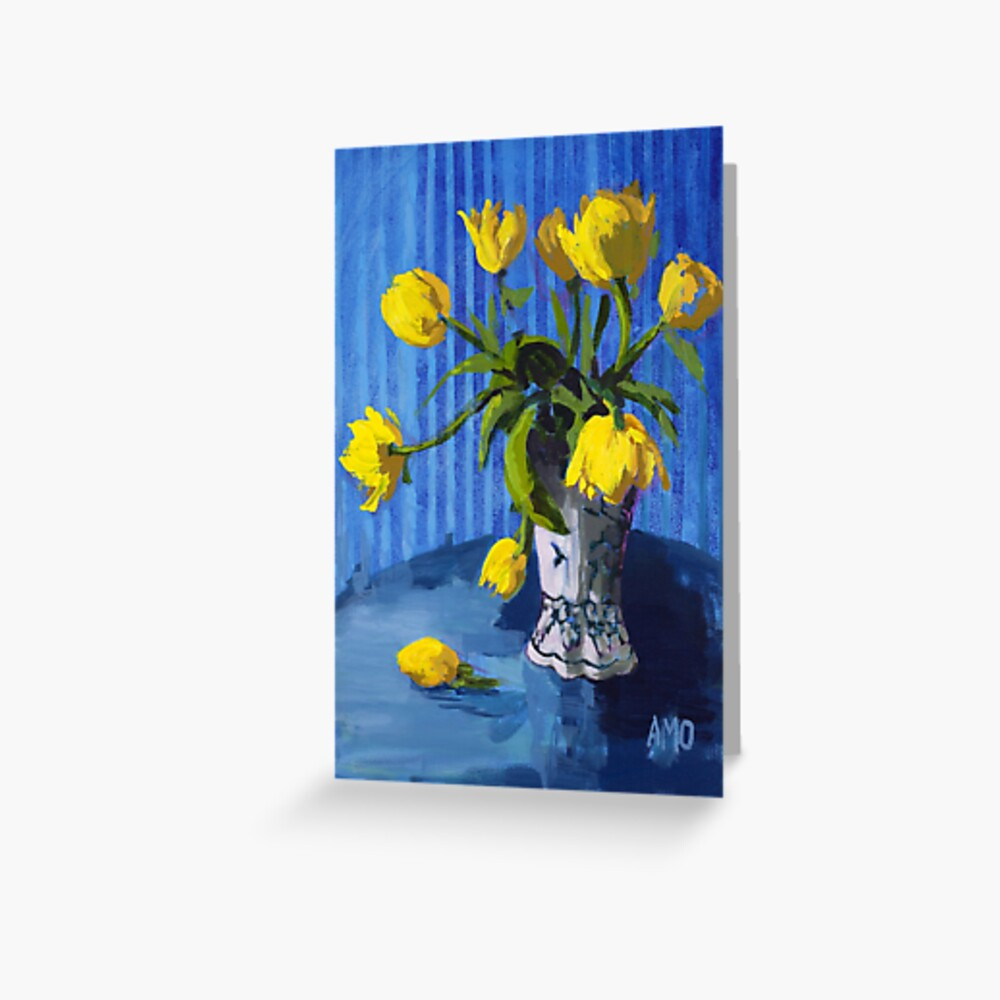Yellow Tulips with Blue Greeting Card