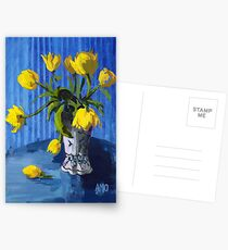 Yellow Tulips with Blue Postcards