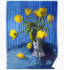 Yellow Tulips with Blue Poster