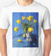 Yellow Tulips with Blue Unisex T-Shirt