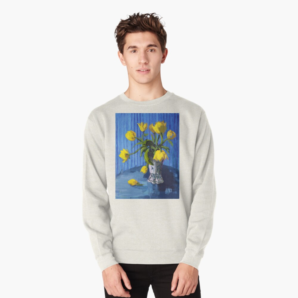 Yellow Tulips with Blue Pullover Sweatshirt