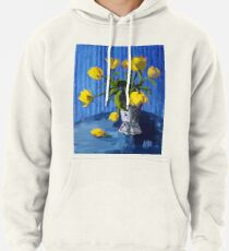 Yellow Tulips with Blue Pullover Hoodie