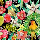 Zanzibar Watercolor tropical fruit, flowers &  yellow weaver birds by MagentaRose