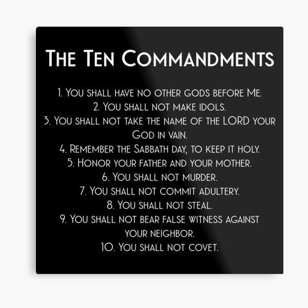 The Ten Commandments of God in White Metal Print