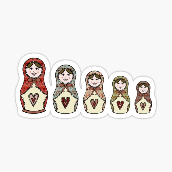 Russian Dolls, Matryoshka Pattern 7 Sticker