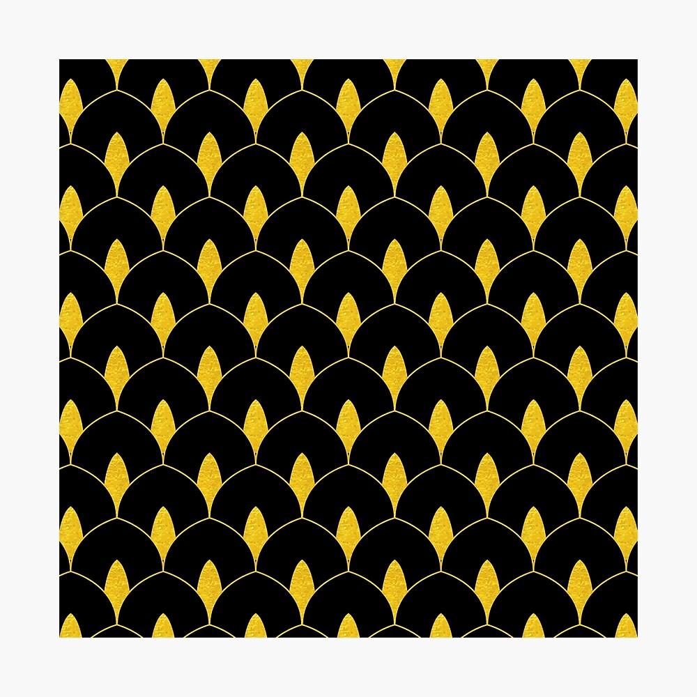 Trockenes Martini-Gold und schwarzes Art Deco-Muster Fotodruck