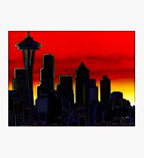 Neon Seattle Cityscape Photographic Print